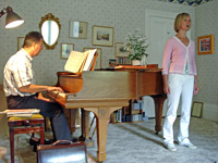 Debra & Robert Anderson in June 2007 photographed during rehearsal whilst preparing for 'A Musical Evening in 18th Century Bath'