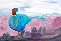 Blue Pheasant on the Wall by Jane Cartney